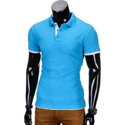 KOSZULKA MĘSKA POLO BEZ NADRUKU S758 - TURKUSOWA. Niebieskie koszulki polo marki Ombre Clothing, m, z nadrukiem. Za 39,00 zł.