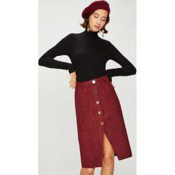 Answear - Spódnica. Szare spódniczki marki ANSWEAR, m, z dzianiny, z podwyższonym stanem, midi, ołówkowe. W wyprzedaży za 99,90 zł.