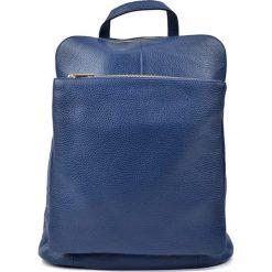 Plecaki damskie: Skórzany plecak w kolorze niebieskim – (S)36 x (W)30 x (G)13 cm