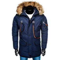 KURTKA MĘSKA ZIMOWA PARKA C369 - GRANATOWA. Niebieskie kurtki męskie zimowe Ombre Clothing, m, z poliesteru. Za 143,20 zł.