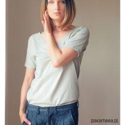 Jasnoszara gładka dwustronna bluzka S-XL. Szare bluzki asymetryczne Pakamera, s, z bawełny, z dekoltem w łódkę. Za 65,00 zł.
