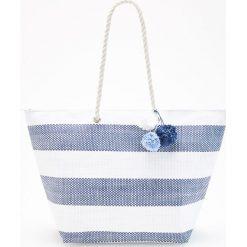 Shopper bag damskie: Duży shopper w paski – Niebieski