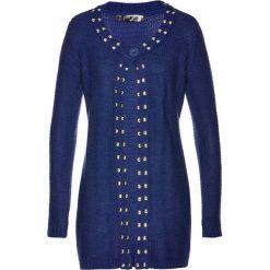 Długi sweter rozpinany bonprix kobaltowo-srebrny. Niebieskie kardigany damskie marki bonprix. Za 59,99 zł.
