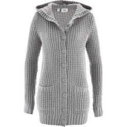 Swetry rozpinane damskie: Sweter rozpinany z kapturem bonprix jasnoszary melanż