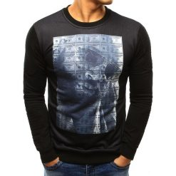 Bluzy męskie: Bluza męska z nadrukiem czarna (bx3388)