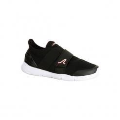 Buty do szybkiego marszu Soft 180 Strap damskie czarno-różowe. Czarne buty do fitnessu damskie marki NEWFEEL, z poliamidu. Za 99,99 zł.