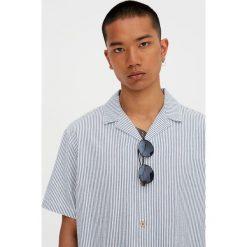 Koszule męskie na spinki: Koszula w paski z krótkim rękawem