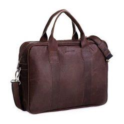 Skórzana torba Elegancja i nowoczesność Ciemny brąz. Czarne torby na laptopa Brødrene, w paski, ze skóry. Za 350,00 zł.