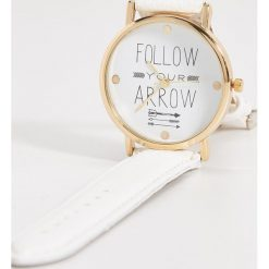 Zegarki damskie: Zegarek na rękę z ozdobną tarczą – Biały