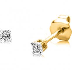 Złote kolczyki-wkrętki z diamentami. Szare kolczyki damskie REVONI, z diamentem, złote. W wyprzedaży za 409,95 zł.