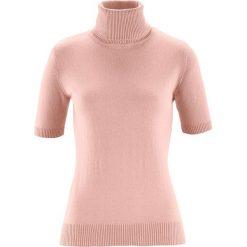 Sweter z golfem, z domieszką jedwabiu bonprix stary jasnoróżowy. Czerwone golfy damskie bonprix. Za 79,99 zł.
