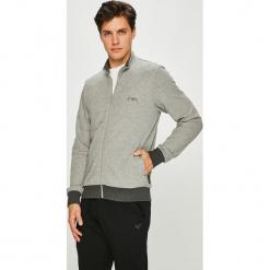 Emporio Armani - Bluza. Szare bluzy męskie rozpinane marki Emporio Armani, l, z nadrukiem, z bawełny, z okrągłym kołnierzem. Za 489,90 zł.