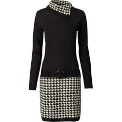 Sukienka dzianinowa bonprix czarno-kremowy. Czarne sukienki dzianinowe marki bonprix, na zimę, w paski, z golfem. Za 109,99 zł.