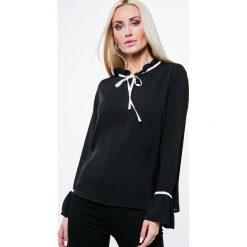 Bluzka ze stójką czarna MP28450. Czarne bluzki damskie Fasardi, l, ze stójką. Za 39,00 zł.
