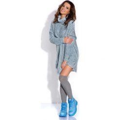 Niebieska Tunika Ażurowa Luźna z Golfem. Niebieskie tuniki damskie marki Molly.pl, na co dzień, na jesień, l, w ażurowe wzory, z materiału, z golfem, z długim rękawem. Za 120,00 zł.