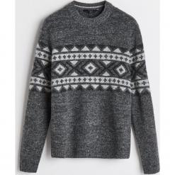 Sweter z domieszką wełny - Szary. Brązowe swetry klasyczne męskie marki bonprix, m, melanż, z dzianiny, klasyczne, z klasycznym kołnierzykiem. Za 139,99 zł.