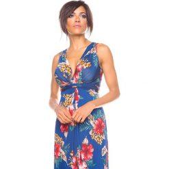 """Sukienki hiszpanki: Sukienka """"Imp"""" w kolorze granatowym ze wzorem"""