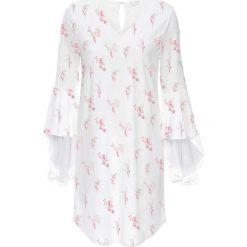 Sukienki: Sukienka z rękawami z wolantem bonprix biel wełny z nadrukiem