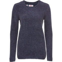 Sweter z szenili bonprix niebieski melanż. Niebieskie swetry klasyczne damskie bonprix. Za 74,99 zł.