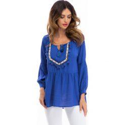 Chabrowa bluzka w stylu boho 8417. Niebieskie bralety marki Fasardi, l, boho. Za 55,20 zł.