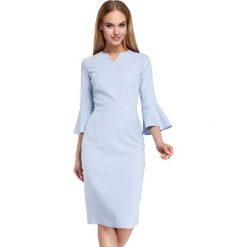 Błękitna Sukienka Ołówkowa Midi z Hiszpańskim Rękawkiem. Niebieskie sukienki koktajlowe marki Molly.pl, do pracy, l, z elastanu, z dekoltem typu hiszpanka, midi, dopasowane. Za 135,90 zł.