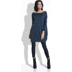 Swetry oversize damskie: Granatowy Długi Sweter Bombka z Kieszeniami