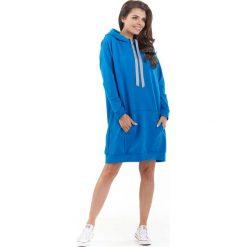 Bluzy damskie: Niebieska Długa Bluza Kangurka z Kapturem w Sportowym Stylu