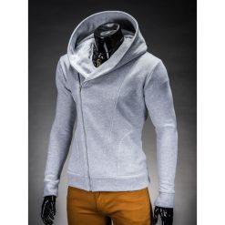 BLUZA MĘSKA ROZPINANA Z KAPTUREM PRIMO - SZARA. Szare bluzy męskie rozpinane Ombre Clothing, m, z bawełny, z kapturem. Za 75,00 zł.