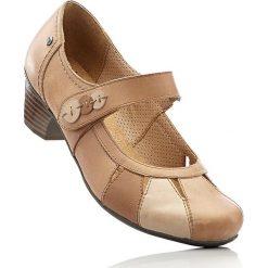Buty ślubne damskie: Wygodne czółenka skórzane z paskiem bonprix wielbłądzia wełna