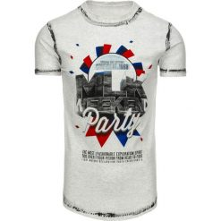 T-shirty męskie z nadrukiem: T-shirt męski z nadrukiem szary (rx1788)
