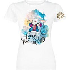 Alicja w Krainie Czarów Looking For Wonderland Koszulka damska biały. Białe bluzki z odkrytymi ramionami Alicja w Krainie Czarów, l, z nadrukiem, z okrągłym kołnierzem. Za 62,90 zł.