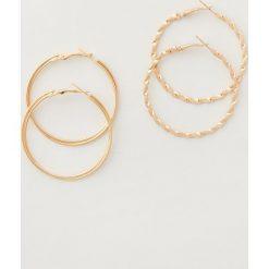 Kolczyki damskie: Kolczyki koła dwie pary – Złoty