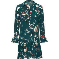 Sukienka w kwiaty bonprix ciemnozielony wzorzysty. Niebieskie sukienki z falbanami marki bonprix, z nadrukiem. Za 149,99 zł.