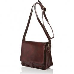 Skórzana torebka w kolorze ciemnobrązowym - 18,5 x 22,5 x 10 cm. Brązowe torebki klasyczne damskie I MEDICI FIRENZE, w paski, z materiału. W wyprzedaży za 347,95 zł.