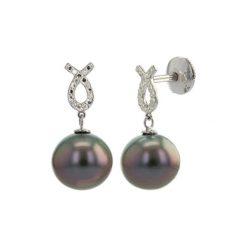 Kolczyki damskie: Kolczyki z białego złota z diamentami i perłami Tahiti