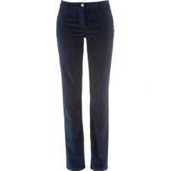 Spodnie sztruksowe ze stretchem bonprix ciemnoniebieski. Niebieskie rurki damskie bonprix, ze sztruksu, z obniżonym stanem. Za 79,99 zł.