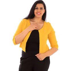 Kardigany damskie: Lniany kardigan w kolorze żółtym