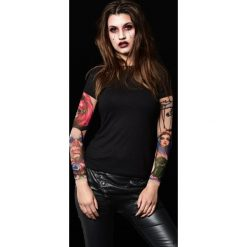 T-shirty damskie: Czarny t-shirt damski z tatuażami Dark Circus