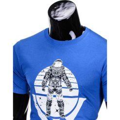 T-shirty męskie: T-SHIRT MĘSKI Z NADRUKIEM S815 – CHABROWY