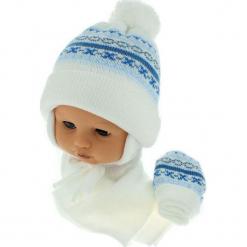 Czapka niemowlęca z szalikiem i rękawiczkami CZ+S+R 013C. Szare czapeczki niemowlęce Proman. Za 45,90 zł.