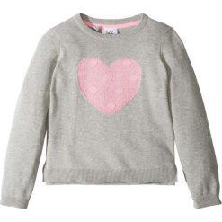 Sweter dzianinowy z sercem bonprix jasnoszary melanż. Czarne swetry dziewczęce marki bonprix, w paski, z dresówki. Za 32,99 zł.