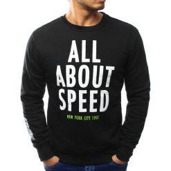 Bluzy męskie: Bluza męska bez kaptura z nadrukiem czarna (bx3059)