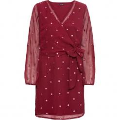 Sukienka wieczorowa bonprix czerwony rubinowy. Czerwone sukienki balowe marki bonprix, w grochy, z dekoltem w serek. Za 79,99 zł.
