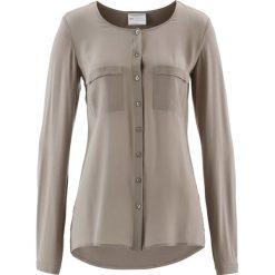 Bluzka Premium z jedwabną wstawką bonprix brunatny. Brązowe bluzki asymetryczne bonprix, z dzianiny. Za 149,99 zł.