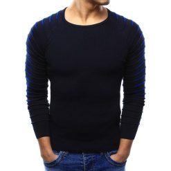 Swetry klasyczne męskie: Sweter męski granatowy (wx0976)
