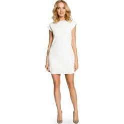 Sukienki balowe: Mini sukienka – tunika ze złotymi ćwiekami – ecru