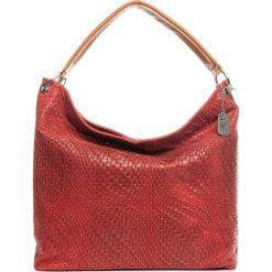 Torebki klasyczne damskie: Skórzana torebka w kolorze czerwonym – 38 x 35 x 13 cm