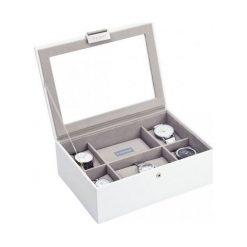 Pudełko na zegarki ze szklaną pokrywką Stackers biało-beżowe. Białe zegarki damskie Stackers. Za 294,00 zł.