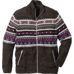 Sweter rozpinany norweski Regular Fit bonprix antracytowy melanż. Szare kardigany męskie marki bonprix, l, melanż. Za 109,99 zł.