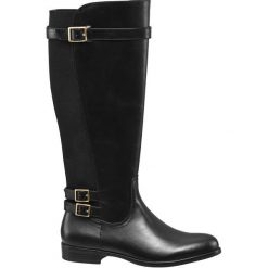 Kozaki damskie Graceland czarne. Czarne buty zimowe damskie Graceland, z materiału, na niskim obcasie, na obcasie. Za 159,90 zł.